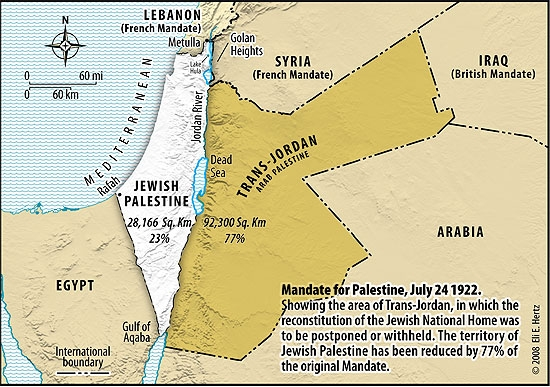 The borders of the Jewish National Home in Palestine after the British cut off the eastern 77% of the demarcated borders to form Trans-Jordan. Trans-Jordan, later Jordan, is the Palestinian homeland